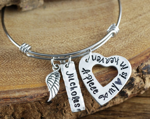 A Piece of my Heart is in Heaven Bracelet, Angel Wing Necklace Memorial Bracelet, Remembrance Bracelet,  Loss of Child, Loss of Parent