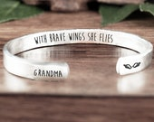 Personalized Memorial Cuff Bracelet, With brave wings she flies Cuff Bracelet, Memorial Gift, Loss of Parent, Loss of Loved One