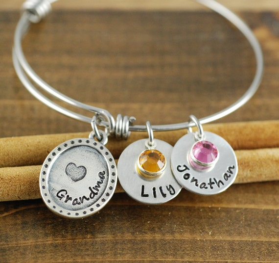 Grandma Bangle Bracelet, Hand Stamped Bangle Bracelet, Adjustable Bangle Bracelet, Personalized bracelet, Charm Bracelet, Grandkids Bangle