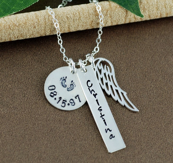 Memorial Necklace | Personalized Necklace | Miscarriage Necklace | In Memory Of | Bar Necklace | Loss of Love One | Baby Feet Necklace