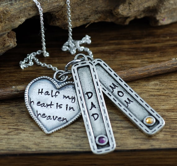 Half My Heart is in Heaven, Remembrance Necklace, Bereavement Jewelry, In Memory Of Dad, Memorial Necklace, Hand Stamped Necklace