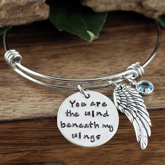 The wind beneath my wings, Bette Midler Song, Angel Wing Jewelry, Remembrance Jewelry, Inspirational Bracelet, Mothers Day Gift