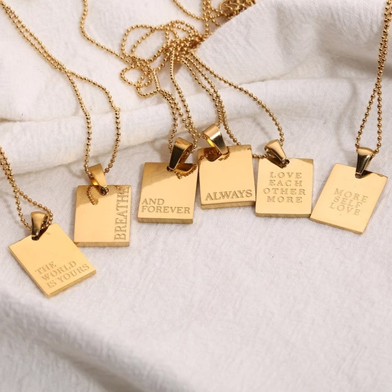 Gold Inspirational Necklace, More Self Love Necklace, Breathe Pendant, Layer Necklace, Necklace Gift for Her, Tag Necklace, Message Jewelry