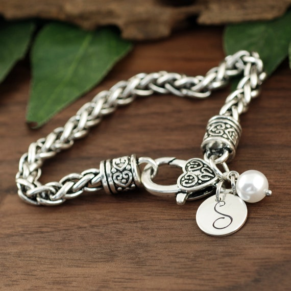 Personalized Initial Bracelet, Initial Jewelry, Antique Silver Bracelet, Byzantine Chain Bracelet, Gift for Her, Personalized Womens Jewelry