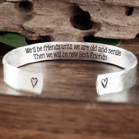 Best Friends Cuff Bracelet, Best Friend Bracelet, Funny Friend Gift, Friendship Bracelet, Best Friend Birthday Gift, Birthday Gift for Her