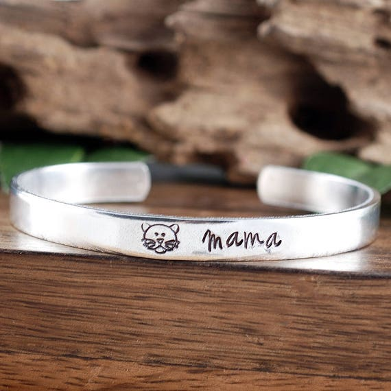 Cat Mom Bracelet, Hand Stamped Cuff Bracelet, Cat Mama Cuff Bracelet, Custom Bracelet, Cat Mother Bracelet, Gift for Mom, Pet Lover Gift