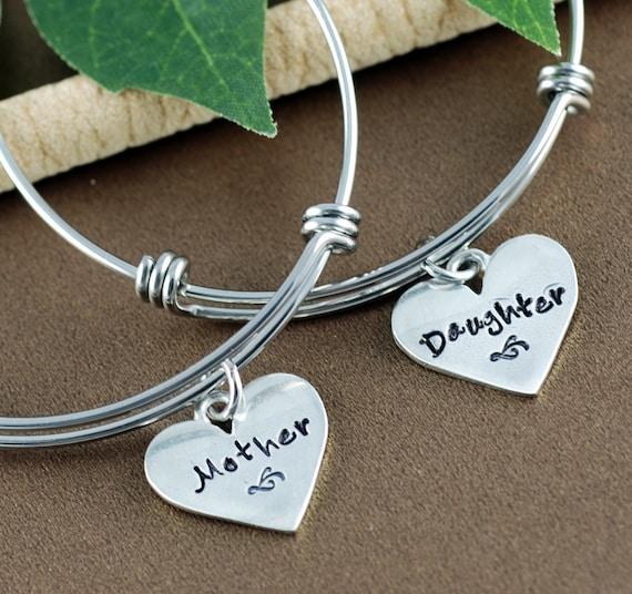 Mother & Daughter Bangle Bracelet, Hand Stamped Bracelet, Personalized Bracelet, Mother and Daughter Bracelet Set, Silver Heart