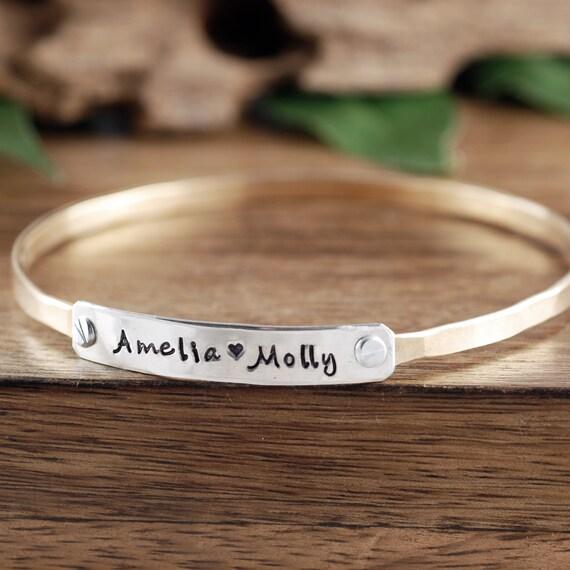 Personalized Name Bracelet, Mothers Bracelet, Friendship Bracelets, Stackable Cuff Bracelets, Personalized Bangle Bracelet, Gift for Mom