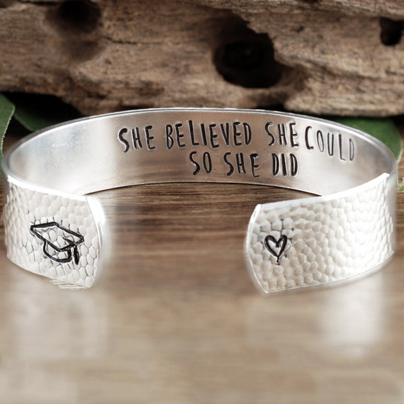 She believed She could so She Did, Graduation Cuff Bracelet, Custom Cuff Bracelet, Gift for Graduate, Inspirational Gift, Gift for Her