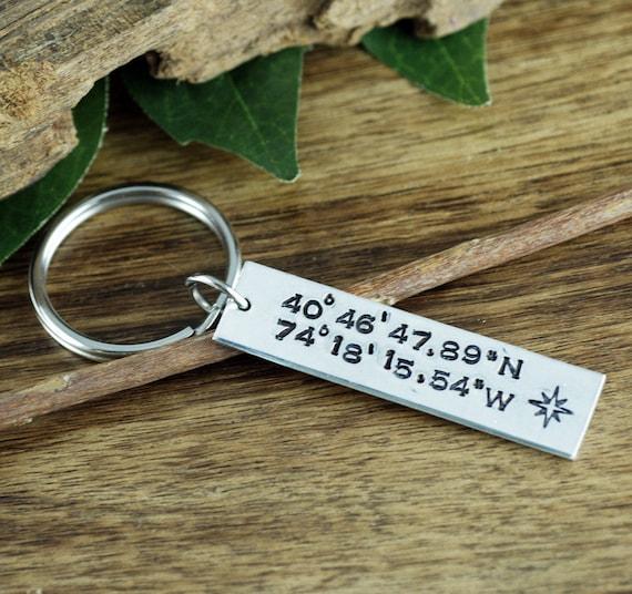 Longitude Latitude Keychain, Personalized Coordinates KeyChain, GPS KeyChain,  Custom Keychain, Boyfriend Gift, Girlfriend Gift
