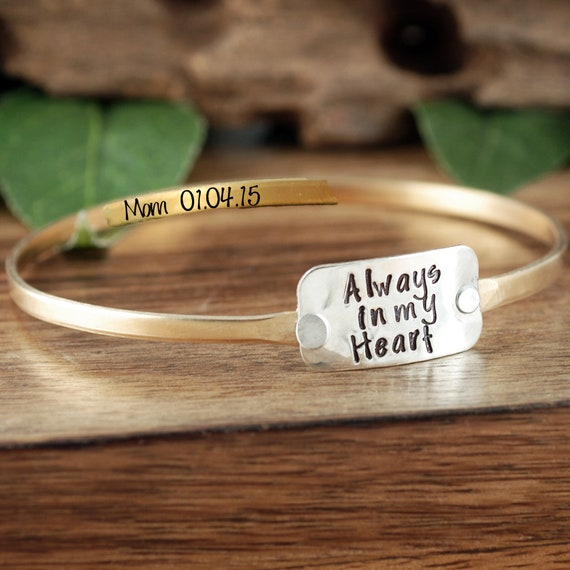 Loss of Parent Bracelet, Bereavement Jewelry, Always in my Heart Bracelet, Remembrance Jewelry, Memorial Gift for Her, Loved one Bracelet