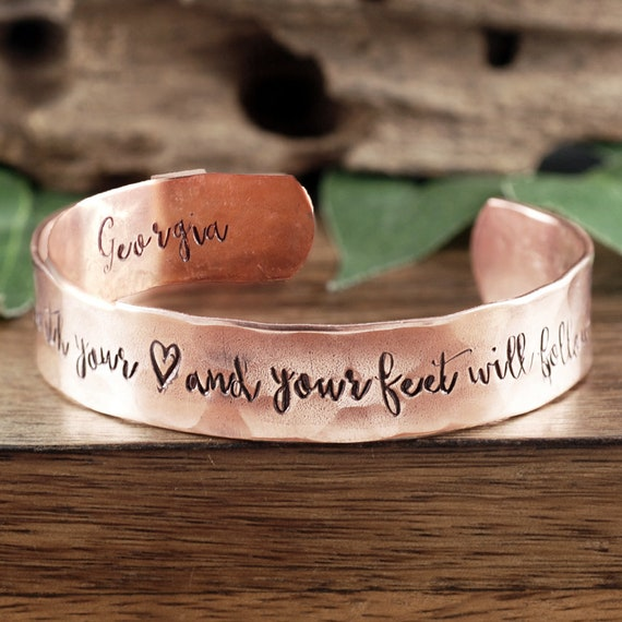 Personalized Dance Bracelets, Copper Cuff Bracelet, Dance with your Heart Jewelry, Dance Bracelet, Dance Gift, Gift for Dancer, Gift for her