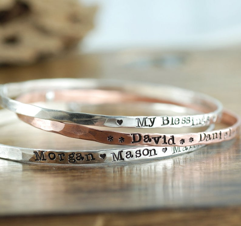 Personalized Bangle Bracelet Annie Reh Stamped Name Bangle Bracelet Personalized Bangle Bracelet Mother/'s Bracelets Gift for Mom