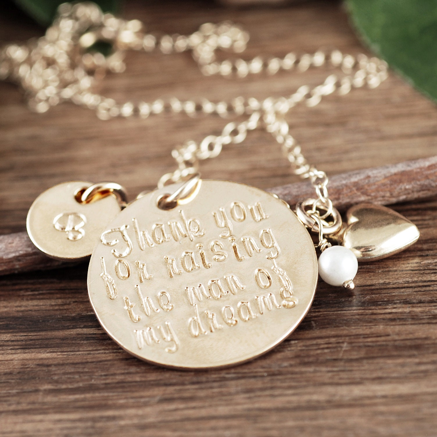 Mother of the Bride Necklace, Personalilzed 14kt Gold ...