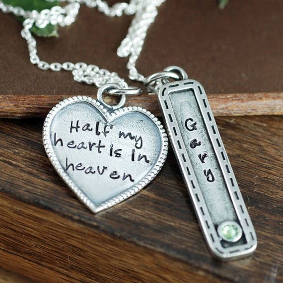Memorial Necklace, Half My Heart is in Heaven Necklace, Bereavement Gift, Sympathy Gift,  Remembrance Necklace, In Memory Of Dad, Angel Dad