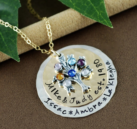 Family Tree Necklace | Hand Stamped Necklace | Tree of Life Necklace | Personalized Jewelry | Mother Necklace | Necklace for Grandma
