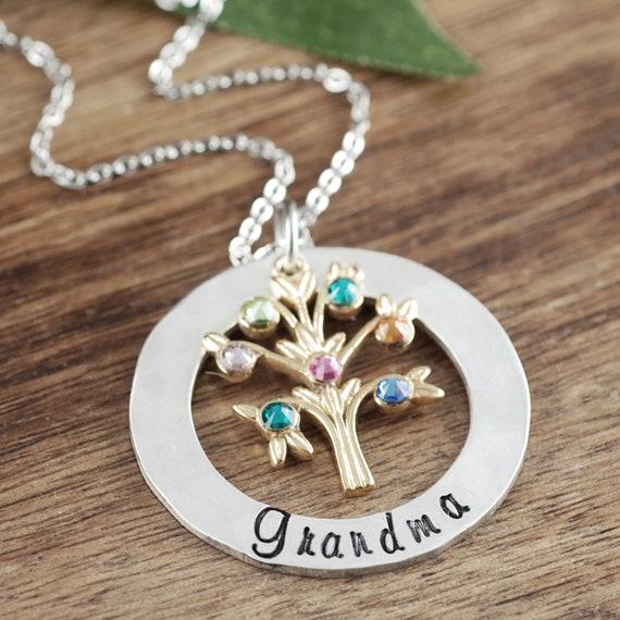 Grandmother Necklace Grandma Jewelry Birthstone Family Tree Etsy