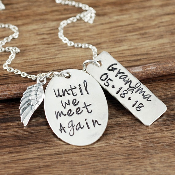 Until we meet Again Necklace, Memorial Necklace, Remembrance Necklace,  Loss of Child, Loss of Parent, Angel Wing Necklace
