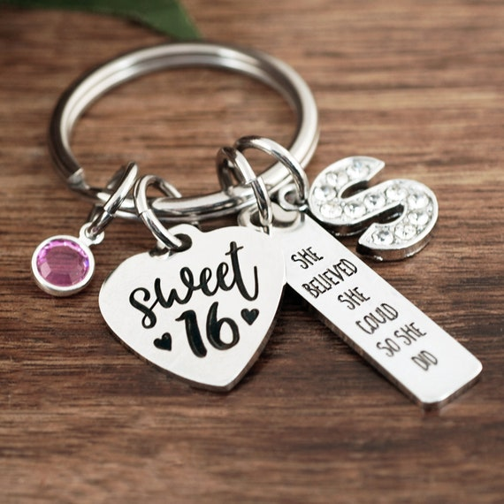 Personalized Sweet 16th Birthday Gifts, She Believed She Could so She Did, Sweet 16 Keychain, Sweet 16 Gift, Inspirational Gift