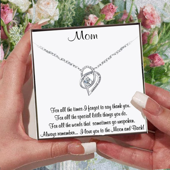 Mother's Day Gift for Mom, Meaningful Gift from Daughter, I love you to the Moon and Back, Necklace for Mom, Message Card Gift, Mom Gift