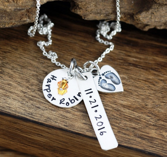 New Mom Necklace, Personalized Mom Necklace, Baby Name Necklace, Baby Feet Necklace, Birthstone Necklace, Gift for Mom, Push Present