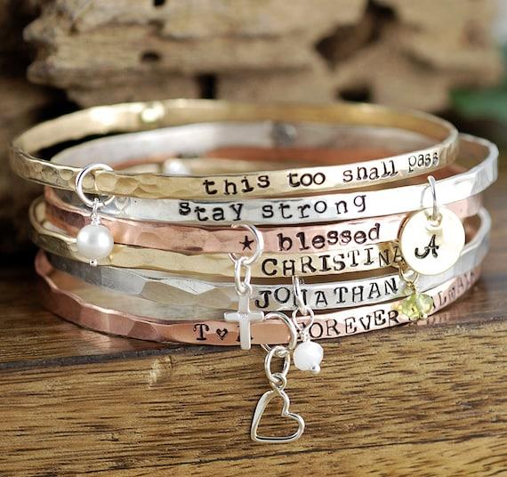 Inspirational Bracelet, Inspirational Quote Bracelets, Bangle Charm Bracelet, Gift for Mom, Custom Bangle Bracelet, Silver Bangle Bracelets