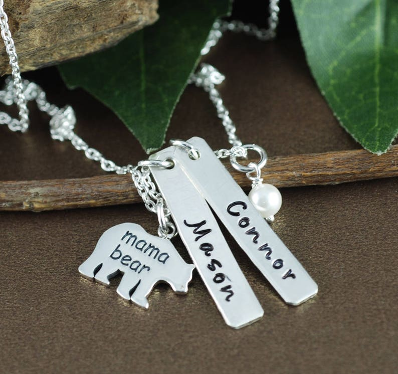 Mama Bear Name Necklace Mother Daughter Necklace Hand Stamped Mom Necklace Kids Names Bear Jewelry Gift for Mom Mothers Day Gift