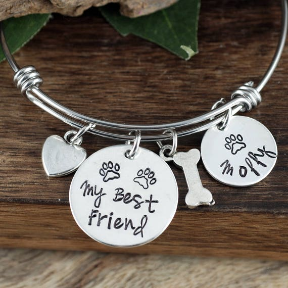 Pet Lover Jewelry, Personalized Dog Paw Bracelet, Dog Bone Charm Bracelet, Wire Bangle, Adjustable Bangle Bracelet, Dog Mom Jewelry
