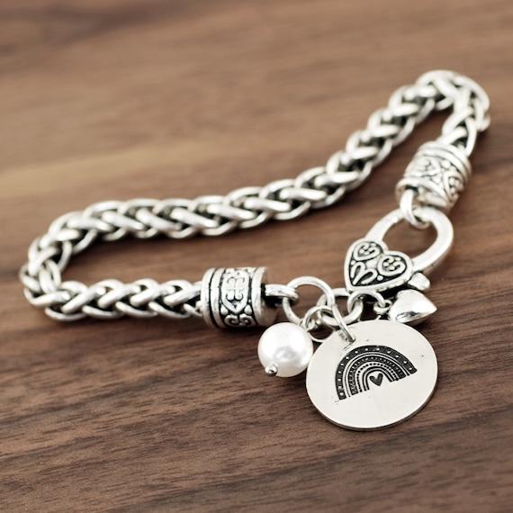 Silver Rainbow Bracelet, Silver Bracelet for Women, Love Bracelet, Gift for Her, Pride Bracelet, Rainbow Jewelry, LGBTQ, Rainbow Charm