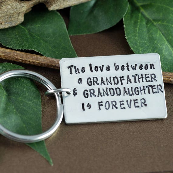 Grandfather Keychain, from Granddaughter, Father's Day Keychain, Gift for Grandpa, Daddy Keychains, Gift for Men, Personalized Keychain