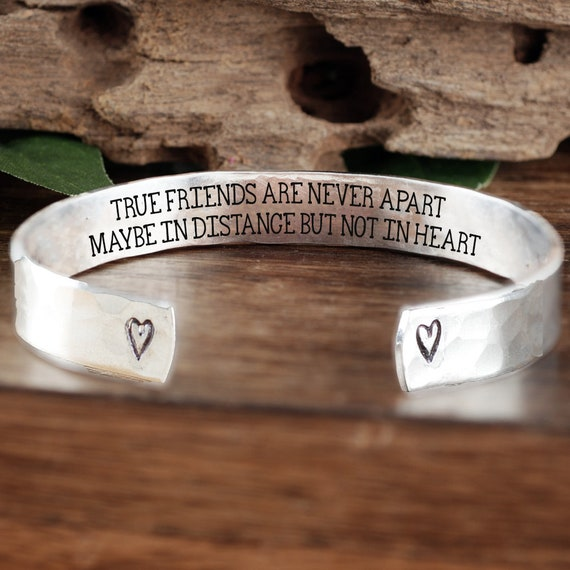 True Friends are never apart, Maybe in distance, but not in heart, Best Friend Bracelet, Friendship Bracelet, Birthday Gift, Gift for Her