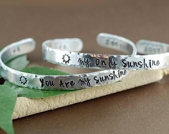 Silver Cuff Bracelet, You are my sunshine, My only Sunshine Cuff, Personalized Bracelets, Hand Stamped Bracelets, Custom Bangle Bracelets