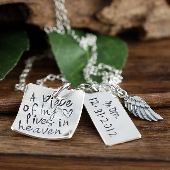 Memorial Necklace, A Piece of my Heart is in Heaven Necklace, Remembrance Necklace,  Loss of Child, Loss of Parent, Angel Wing Necklace