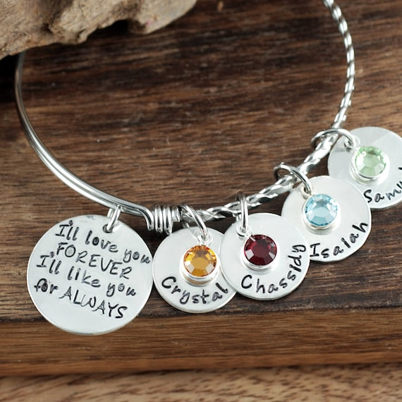 I'll Love you Forever Bracelet, Hand Stamped Bangle Bracelet, I'll Love you for Always Jewelry, Expandable Bangle, Charm Bracelet