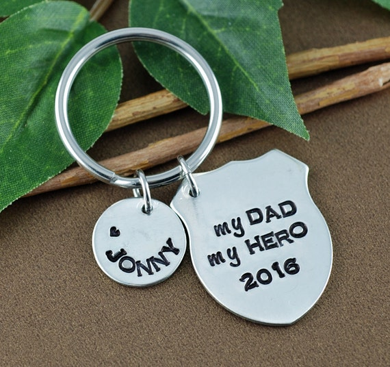 My Dad My Hero Keychain, Father's Day Gift, Police Keychain, Badge Charm Keychain, Police GIft, Gift for Police Dad, GIft for Father's Day