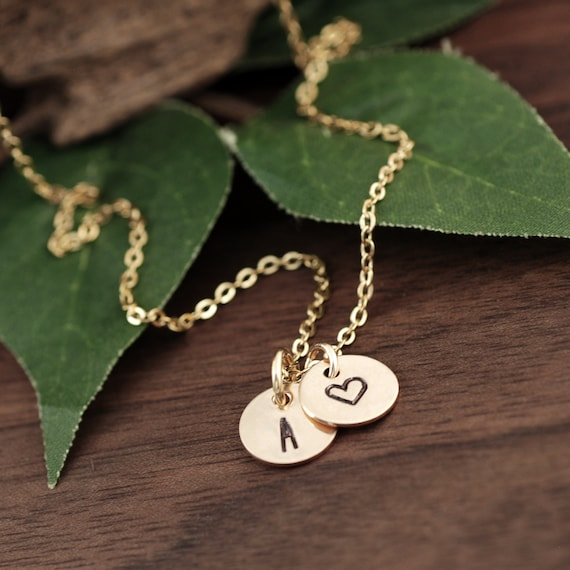 Tiny Personalized Gold Disc Necklace, Dainty initial Necklace, Monogram Disc, Silver disc necklace, Gift for mom, Gift for grandma