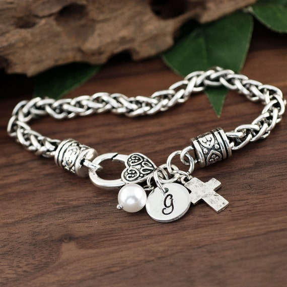 Confirmation Bracelet, Initial Bracelet, Initial Jewelry, Christian Jewelry for Her, Personalized Womens Jewelry, Religious Cross Bracelet