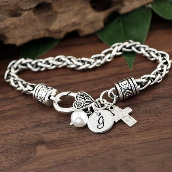 Confirmation Bracelet, Initial Bracelet, Initial Jewelry, Christian Jewelry for Her, Personalized Womens Jewelry, Religious Cross Bracelet