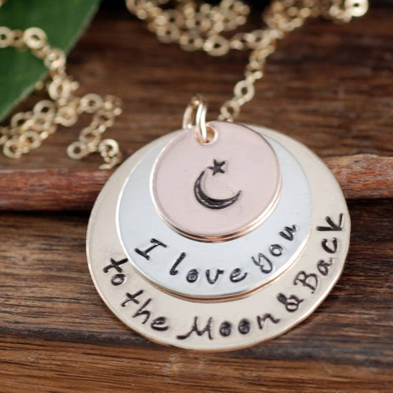 Love you to the Moon and Back Necklace, Tri Color Necklace, Rose Gold Necklace, Tri Color Necklace, Moon and Back Jewelry, Gift for Mom