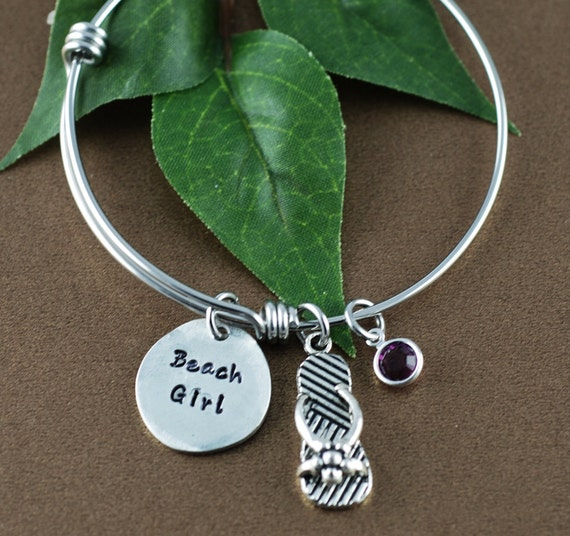 Beach Girl, Bangle Bracelet, Beach Lover Jewelry, Hand Stamped Bracelet, Flip Flop Jewelry, Summer Beach Jewelry , Gift for her, Beach Gift