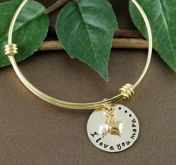I Love You More Bracelet, Heart Bracelet, Personalized Bangle Bracelet, Charm Bracelet, Hand Stamped Bangle Bracelet