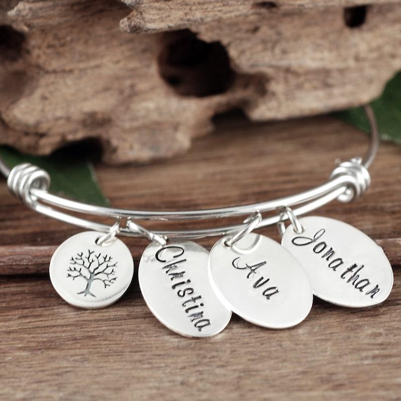 Tree of Life Bracelet for Grandma Custom Name Bracelet Personalized Name Bracelet Sterling Silver Mom Bracelet Mother/'s Bracelet
