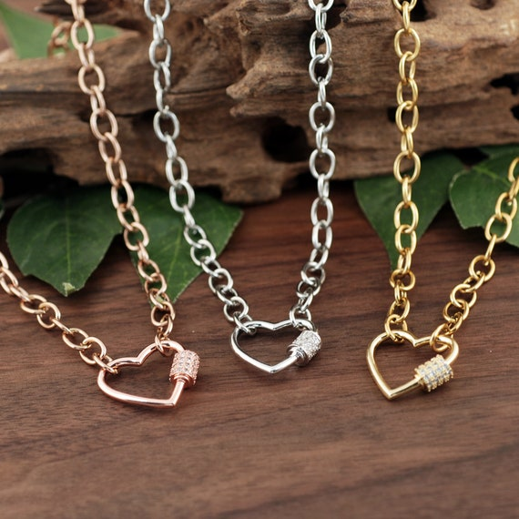 Carabiner Heart Necklace, Screw Clasp Chain Link Necklace, Carabiner Heart Jewelry, Link Necklace, Trendy Necklace, Layering Necklace
