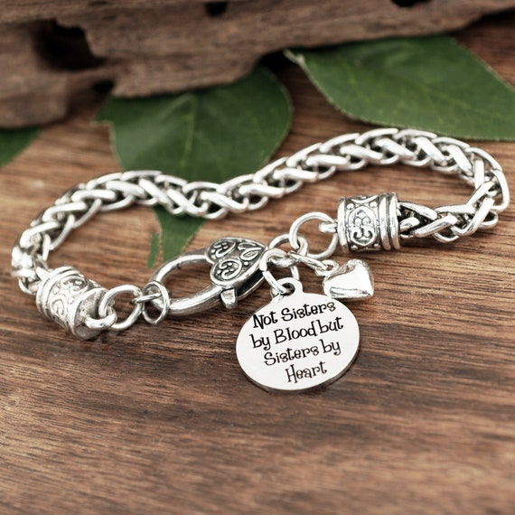 Not sisters by blood but Sisters by heart, Sisters Bracelet, Friend Bracelet, Soul Sister, Best Bitches, BFF, Birthday Gift for Friend