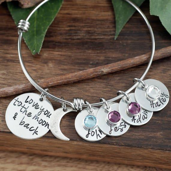 Love you to the Moon and Back Bracelet, Personalized Grandma Bracelet, Custom Bracelet, Signature Jewelry, Engraved Bracelet, Gift for Mom
