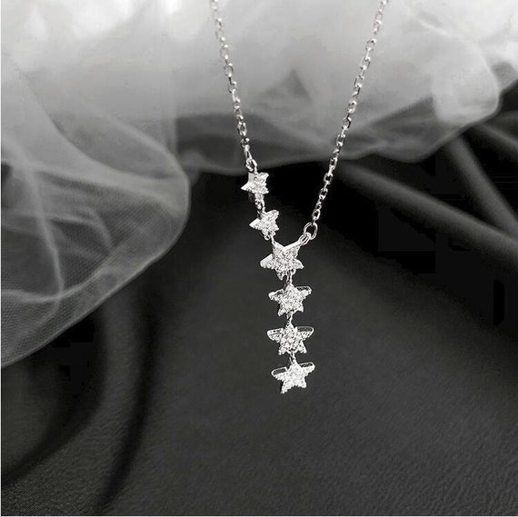 Sterling Silver Star Necklace, Cascading Star Charm Necklace, Crystal Star Necklace, Minimalist Necklace, Celestial Star Necklace
