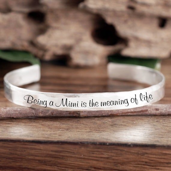 Personalized Mimi Gift, Gift from Granddaughter, Custom Cuff Bracelet, Gift for Grandma, Mimi Jewelry, Mother's Day, Gift From Grandson