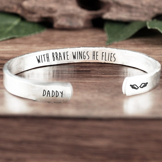 With brave wings he flies Cuff Bracelet, Personalized Memorial Cuff Bracelet, Memorial Gift, Loss of Dad, Loss of Loved One, Sympathy Gift