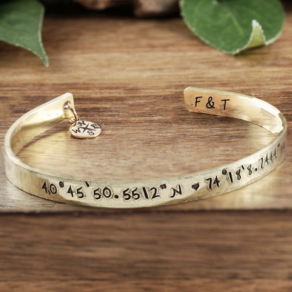 Custom Coordinate Jewelry, Latitude Longitude, Travel Jewelry,, Personalized Coordinate Bracelet, Handstamped, Anniversary Gift Couple