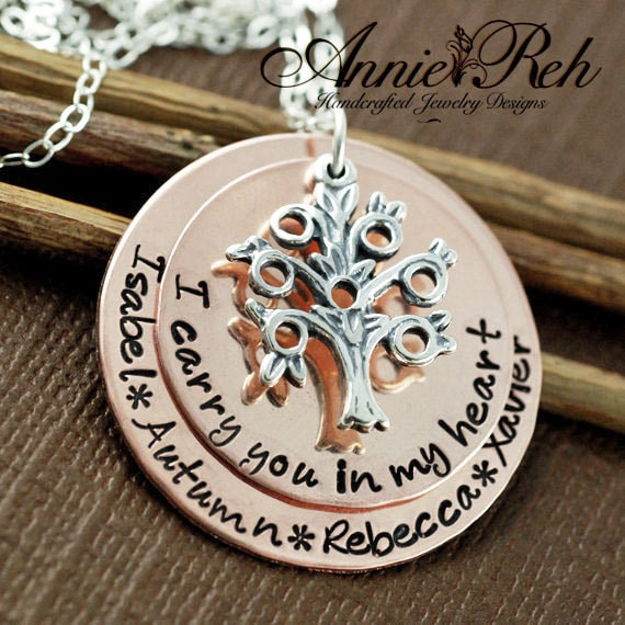 Hand Stamped Family Tree Necklace, Tree of Life Necklace, Personalized Grandma Jewelry, I Carry you in my Heart, Mothers Necklace